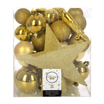 Set of 33 Assorted Baubles and Tree Topper - Light Gold