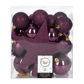 Set of 33 Assorted Baubles and Tree Topper - Royal Purple