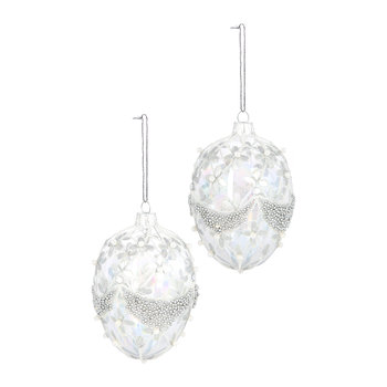 Egg with Trellis/Swag Tree Decoration - Set of 2 - Silver