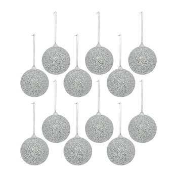 Beaded Bauble - Set of 12 - Silver