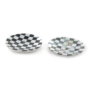 Check Candle Holders - Set of 2 - Black/Pearl