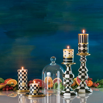 Check Pillar Candle - Black/White - 8cm