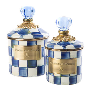 Check Enamel Canister - Mini - Royal Check