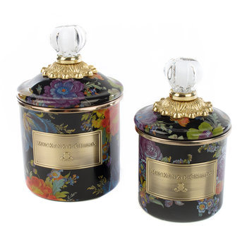 Flower Garden Demi Canister - Black