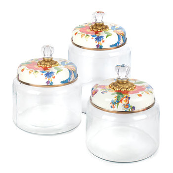 Flower Garden Kitchen Canister - White