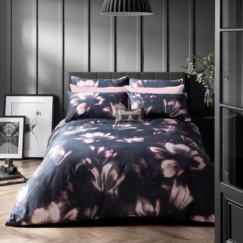 Diffused Floral Quilt Cover - Midnight