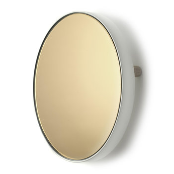 Studio Simple Round Wall Mirror/Tray - Gold White