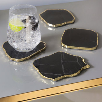 Black Onyx Coasters - Set of 4