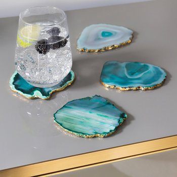 Agate Coasters - Set of 4 - Green