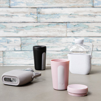 Glass Travel Cup - Dusty Pink & Cloud