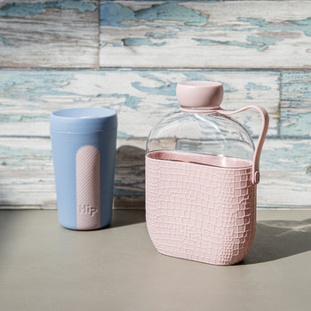 Glass Travel Cup - Sky & Dusty Pink