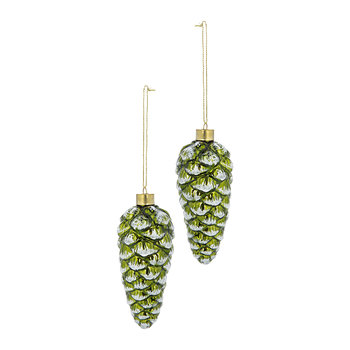 Glitter Glass Pinecone Tree Decoration - Set of 6 - Green/White