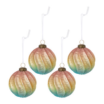 Gradient Spiral Bauble - Set of 4 - Pink/Gold/Green