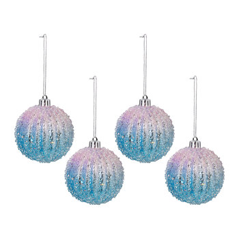 Rainbow Frosted Bauble - Set of 4 - Purple/Blue