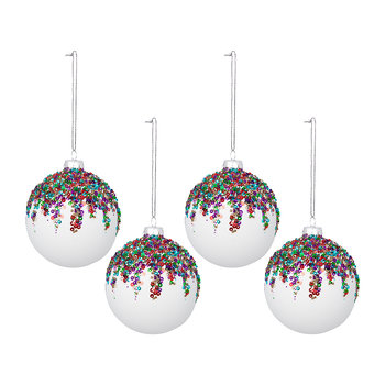 Sequin Bauble - Set of 4 - White