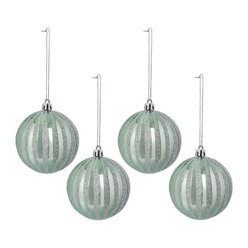 Stripe Baubles - Set of 4 - Mint