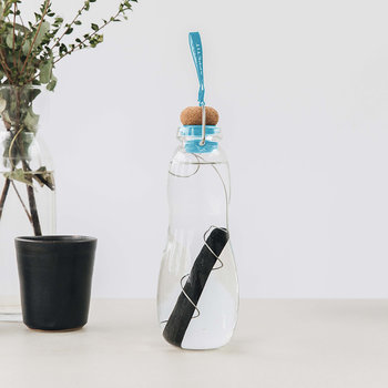 Eau Good Glass Water Bottle with Charcoal Filter - Blue