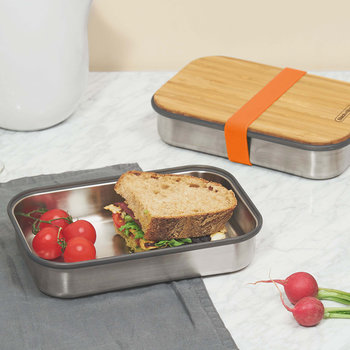 Stainless Steel Sandwich Box with Wooden Lid - Orange