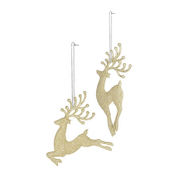 Diamond Reindeer Tree Decoration - Set of 2 - Champagne Gold