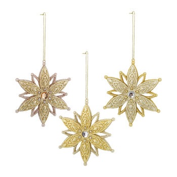 Snowflake Tree Decoration - Set of 3 - Gold