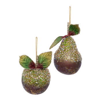Beaded Pear and Apple Tree Decoration - Set of 2 - Green