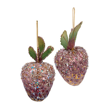 Beaded Strawberry Tree Decoration - Set of 2 - Burgundy