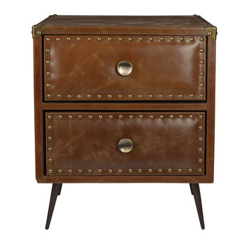 Leather Studded Drawers - Tan