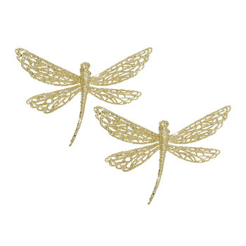 Glitter Dragonfly Tree Decoration - Set of 2 - Gold