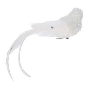 Feather Jewel Bird Clip Tree Decoration - White