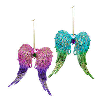 Acrylic Angel Wings with Glitter - Set of 2