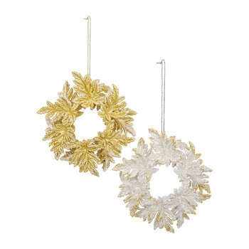 Acrylic Wreath Tree Decoration - Set of 2 - Gold/Silver