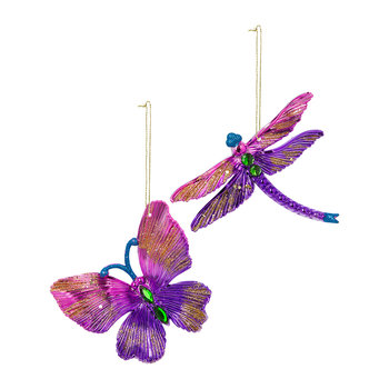 Butterfly/Dragonfly Tree Decoration - Set of 2 - Pink