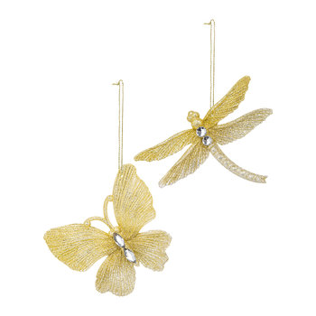 Butterfly/Dragonfly Glitter Tree Decoration - Set of 2 - Gold