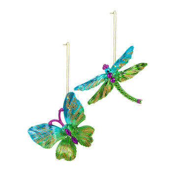 Butterfly/Dragonfly Tree Decoration - Set of 2 - Green