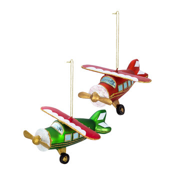 Glass Airplane Tree Decoration - Set of 2