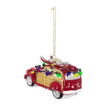 Glass Car with Lights Tree Decoration