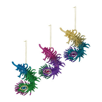 Glitter Peacock Feather Tree Decoration - Set of 3