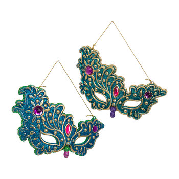 Peacock Glitter Mask Tree Decoration - Set of 2