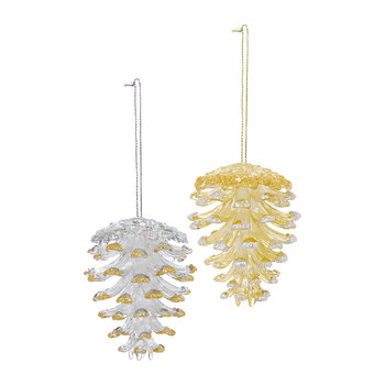 Pinecone Glitter Tree Decoration - Set of 2 - Gold/Silver