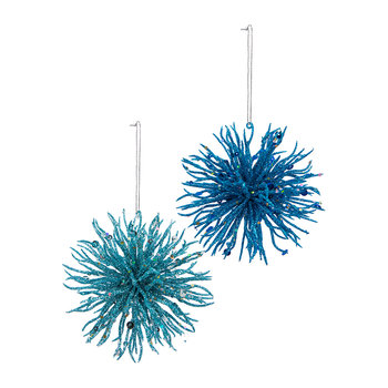 Glitter Coral Trims Tree Decoration - Set of 2