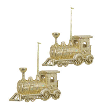Glitter Train Tree Decoration - Set of 2 - Gold