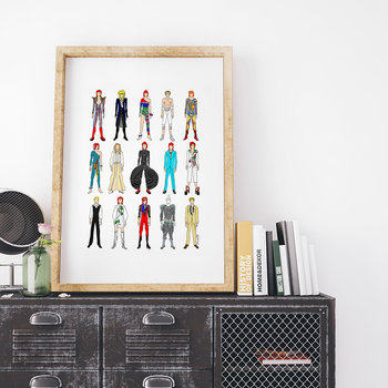 Outfits of Bowie Fashion Print - 40x50cm