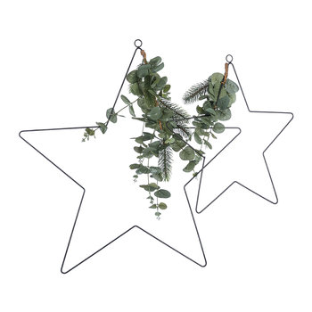 Star with Leaves Decoration - Set of 2