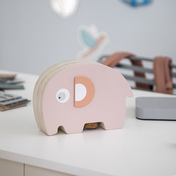 Fanto the Elephant Wooden Coin Bank - Grapefruit Pink