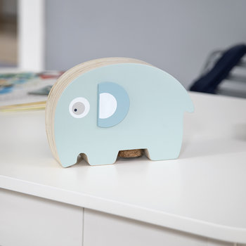 Fanto the Elephant Wooden Coin Bank - Lagoon Blue