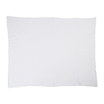 Biscuit Knitted Baby Blanket - 90x120cm - White
