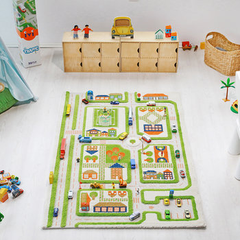 Children's 3D Play Rug - Green Road