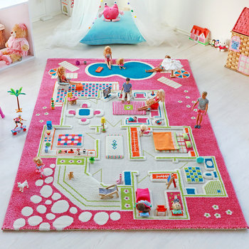 Children's 3D Play Rug - Pink Play House