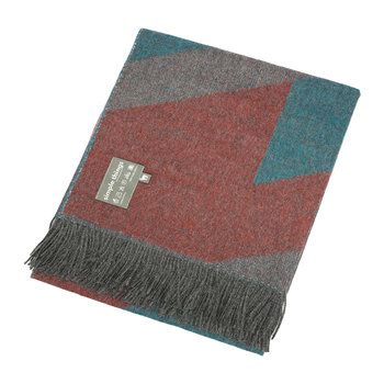 Alpaca Throw  - Ski - Teal/Orange