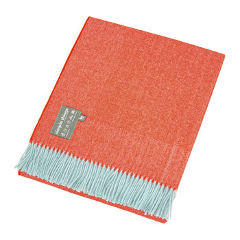Alpaca Throw Herringbone - Duck Egg/Orange